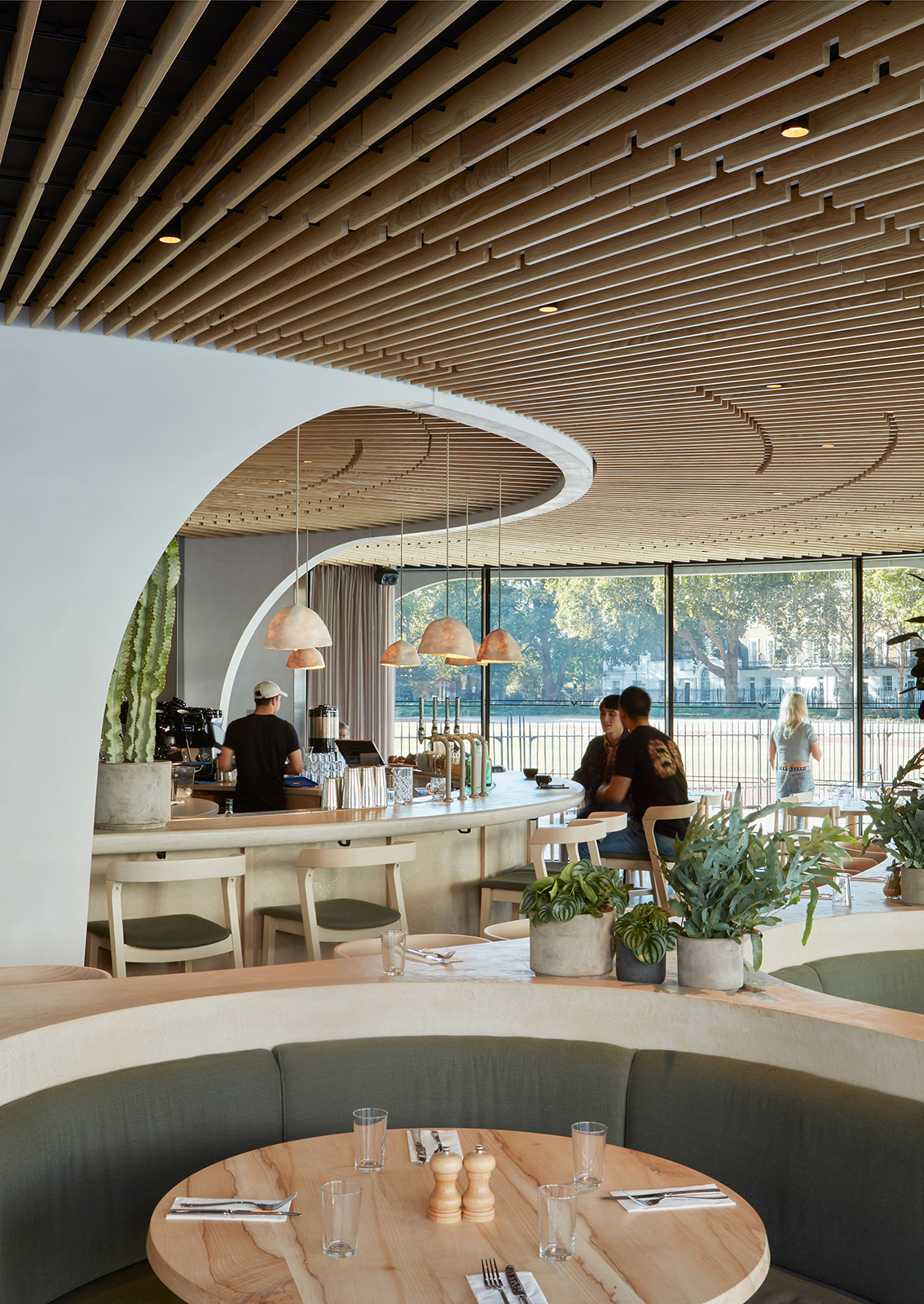 The curving roof inside Cadogan Cafe on King's Road