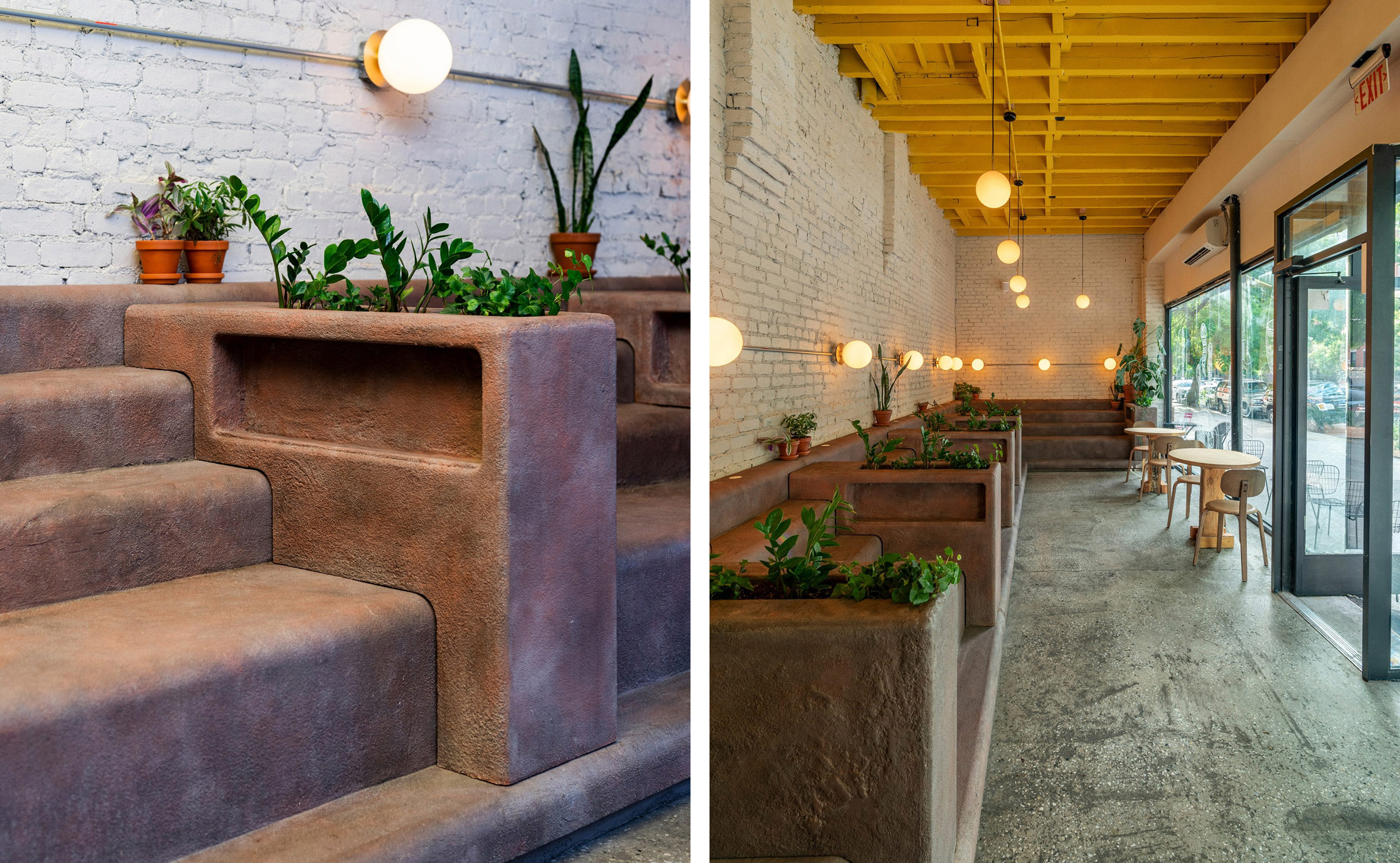 Stepped seating mimics the iconic stoops of the city's Brownstones
