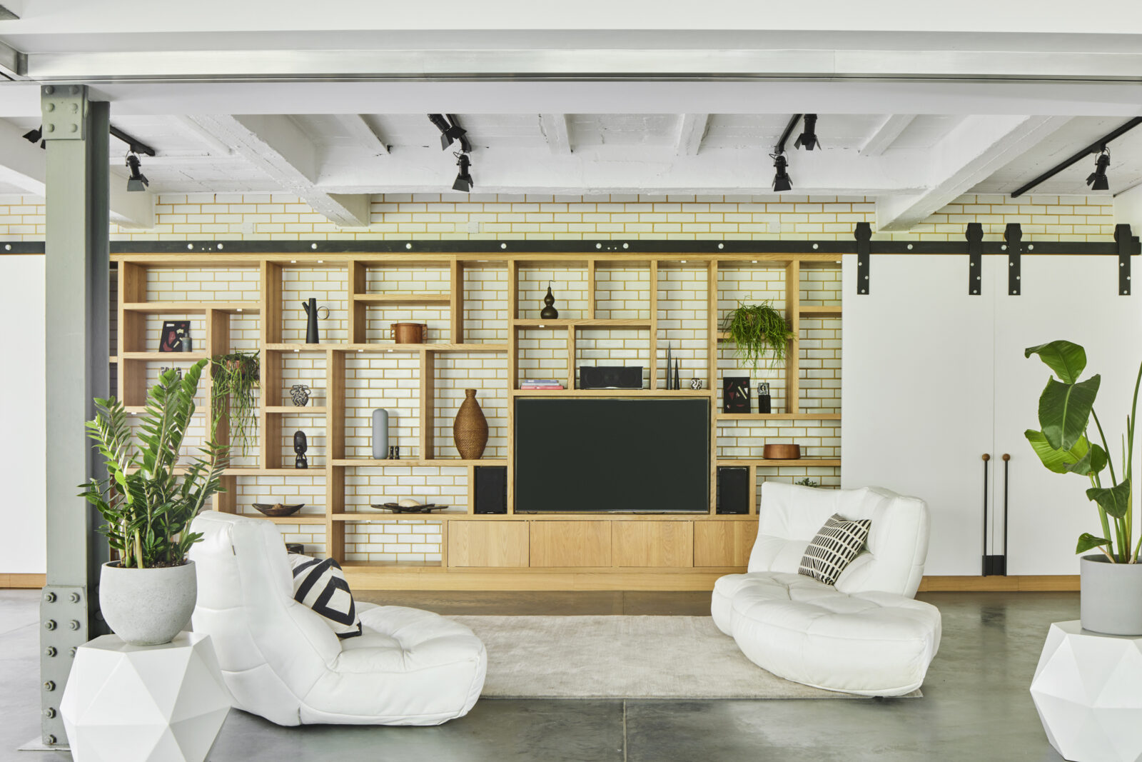 Cabinetry is custom-designed for the space