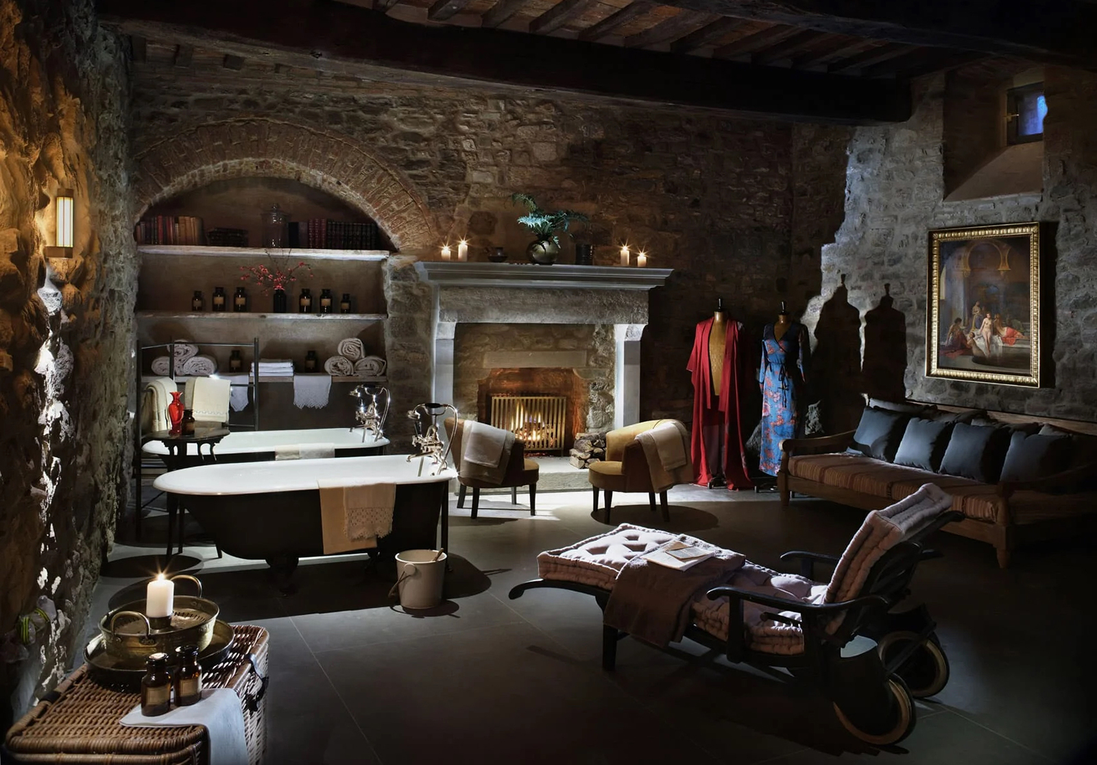 One of the thirty suites inside the castle's upper levels