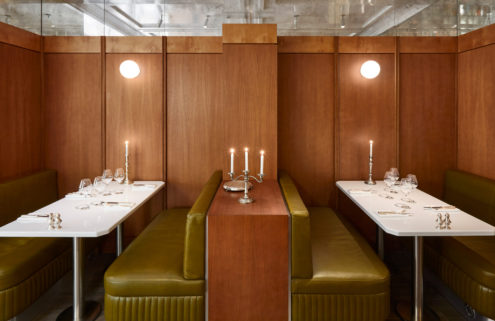 Paris brasserie Abstinence revives chic 70's green