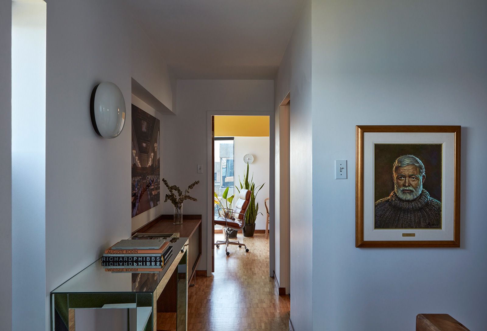 The view through the hallway to the study
