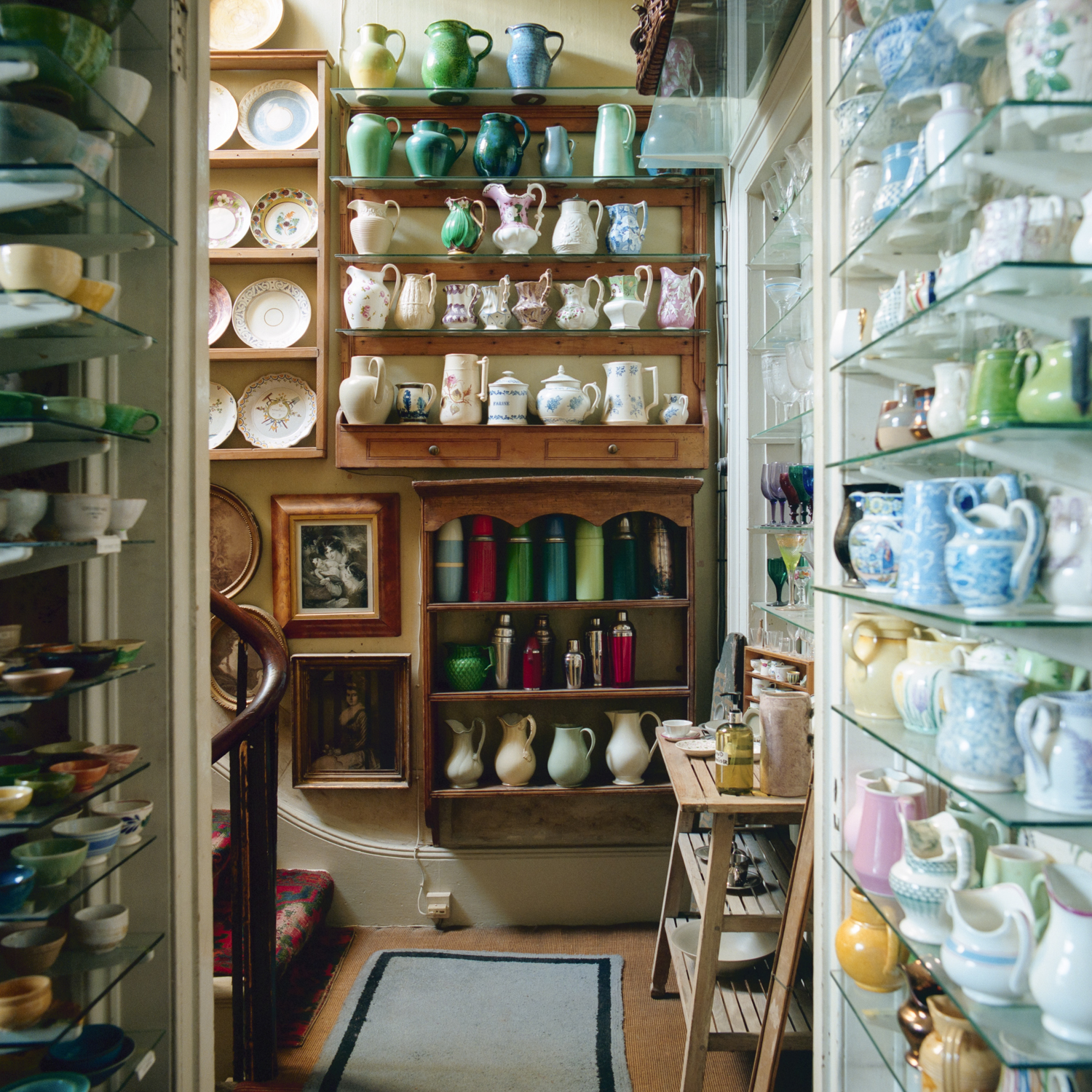 Ceramics on display in a corner of one prop house