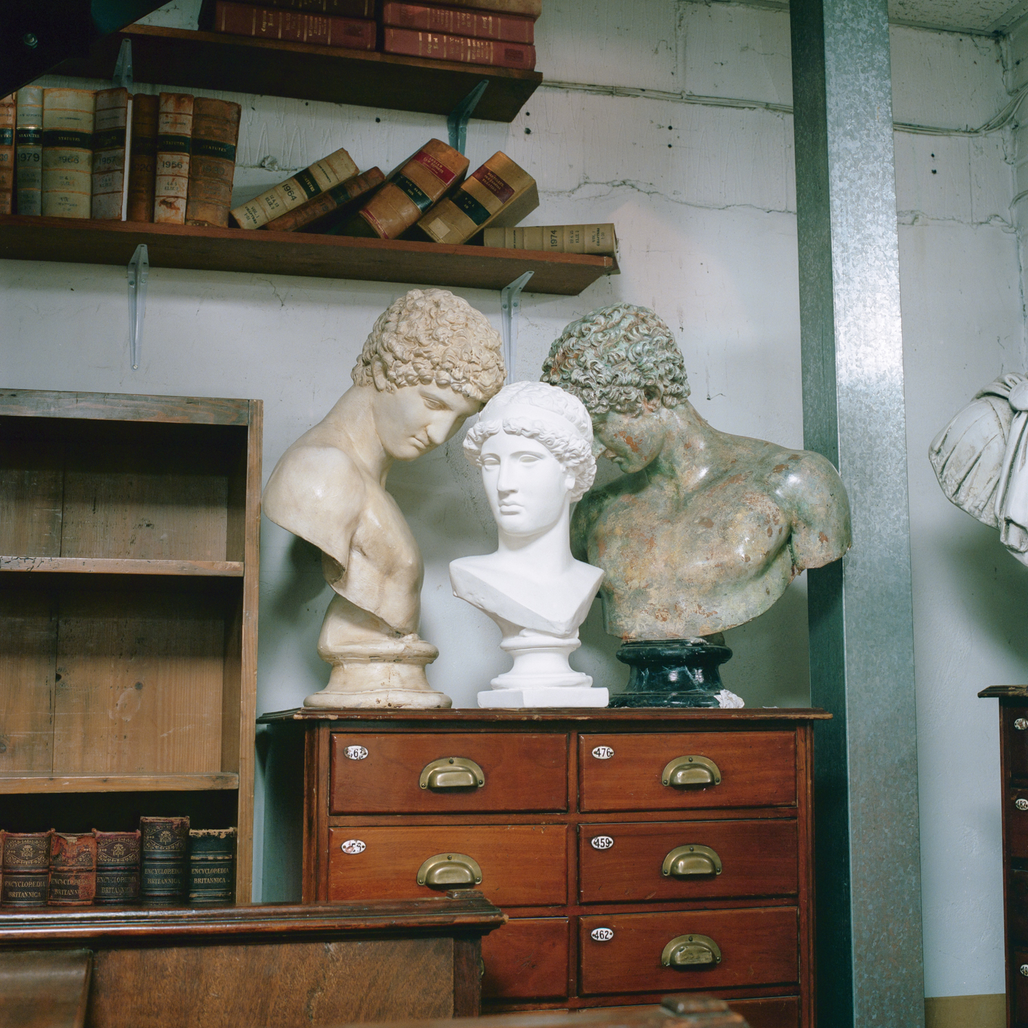 Antique books and busts