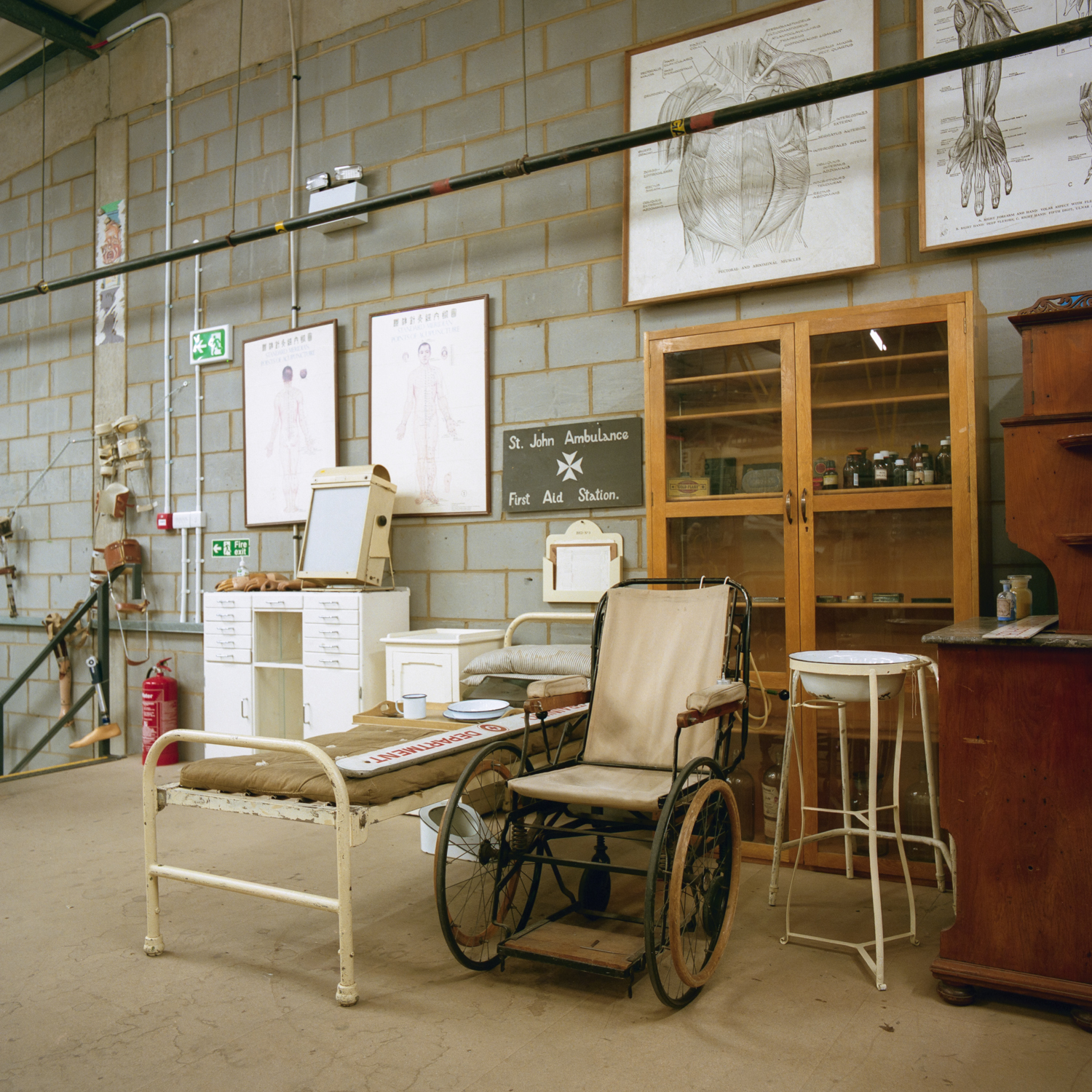 The English Patient: within the prop houses, there are mini diaramas set up like this one from a WW1 field hospital, complete with metal framed bed and wheelchair