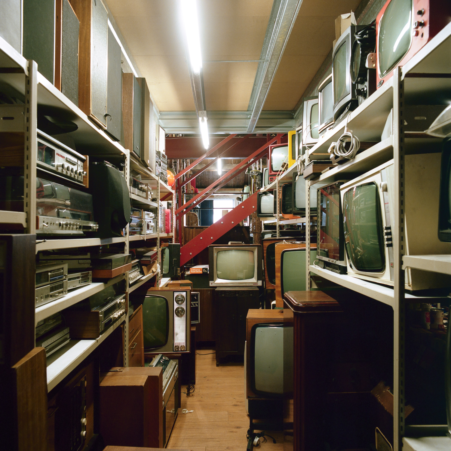 One corner of the prop house is crammed with old televisions, ranging from early models to those of the late 1980s