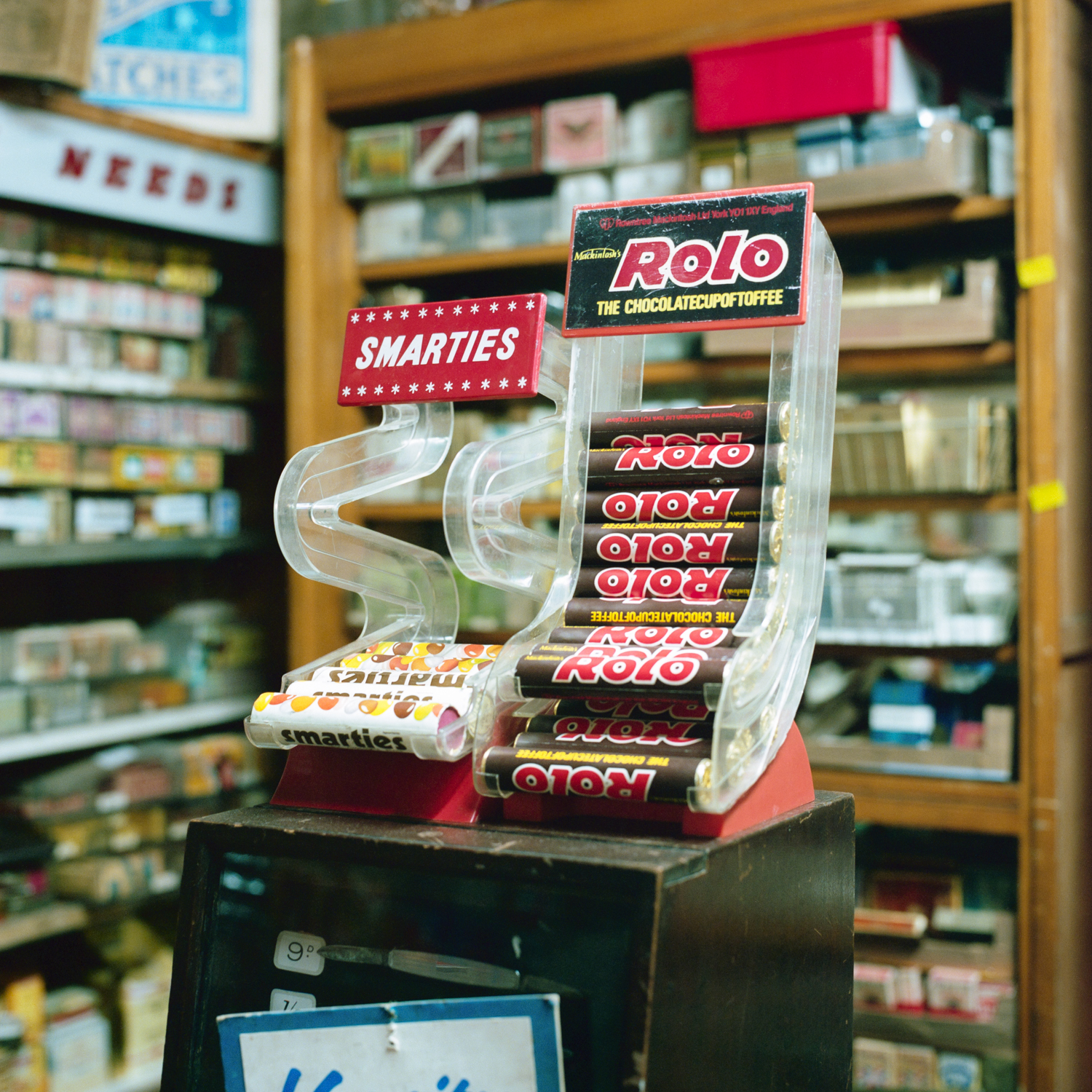 Smarties and Rolo display cases from the 1970s