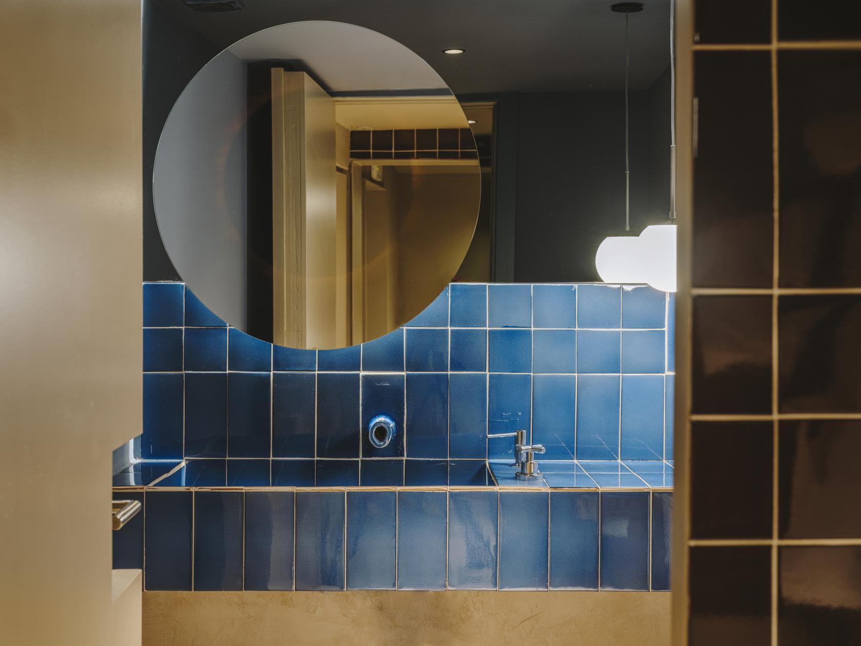 Glazed tiles in the bathrooms