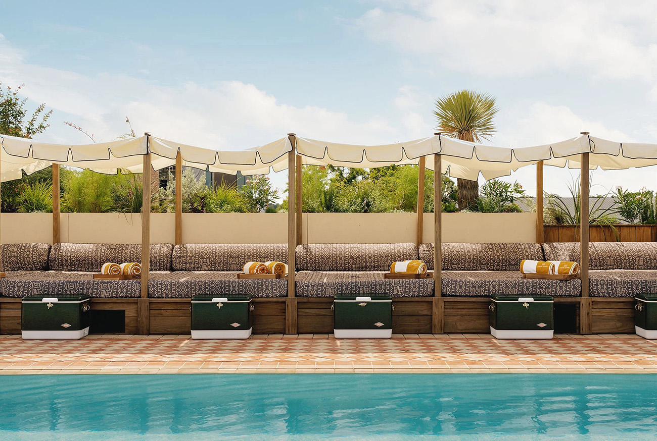The rooftop pool and terrace at Soho House Austin