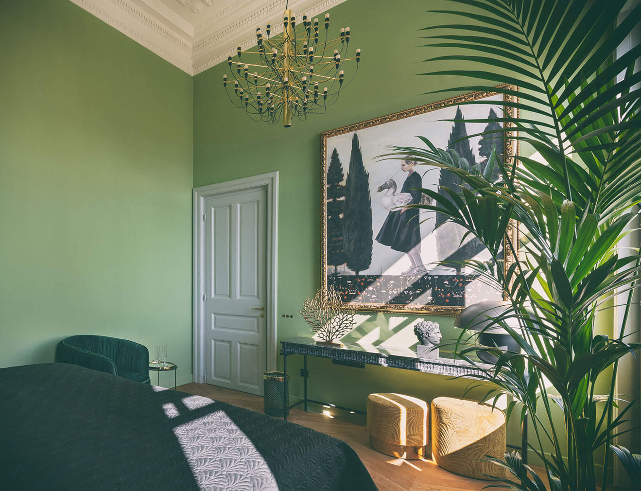 A colourful green bedroom suite at the Aristide Hotel, Syros