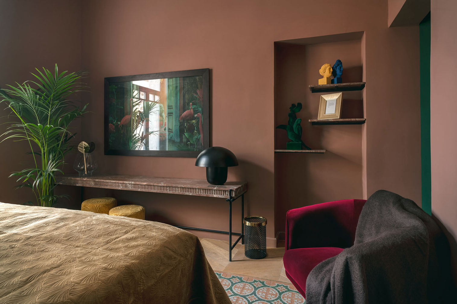 A colourful pink bedroom suite at the Aristide Hotel, Syros