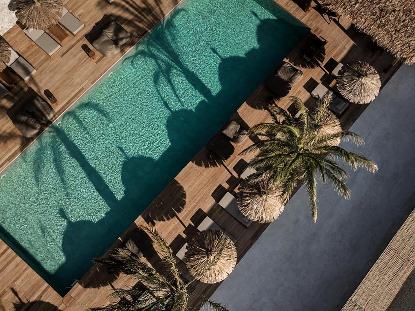 An aerial views of Oku hotel