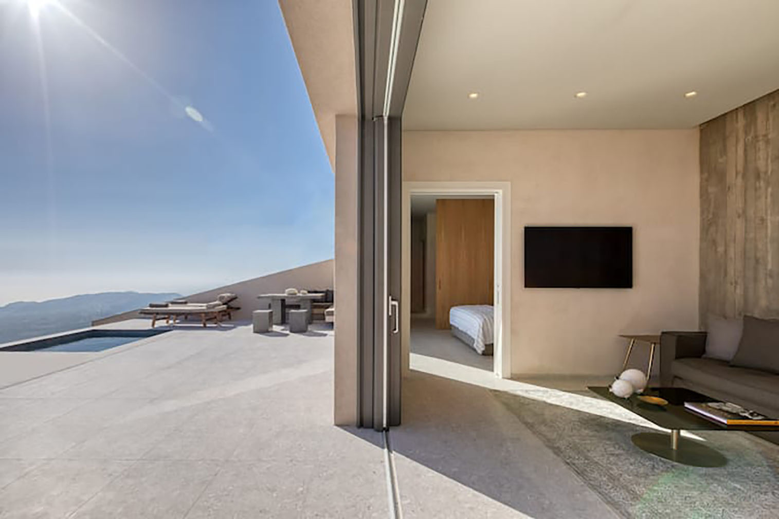 Santorini sky villa suite with infinity pool and terrace