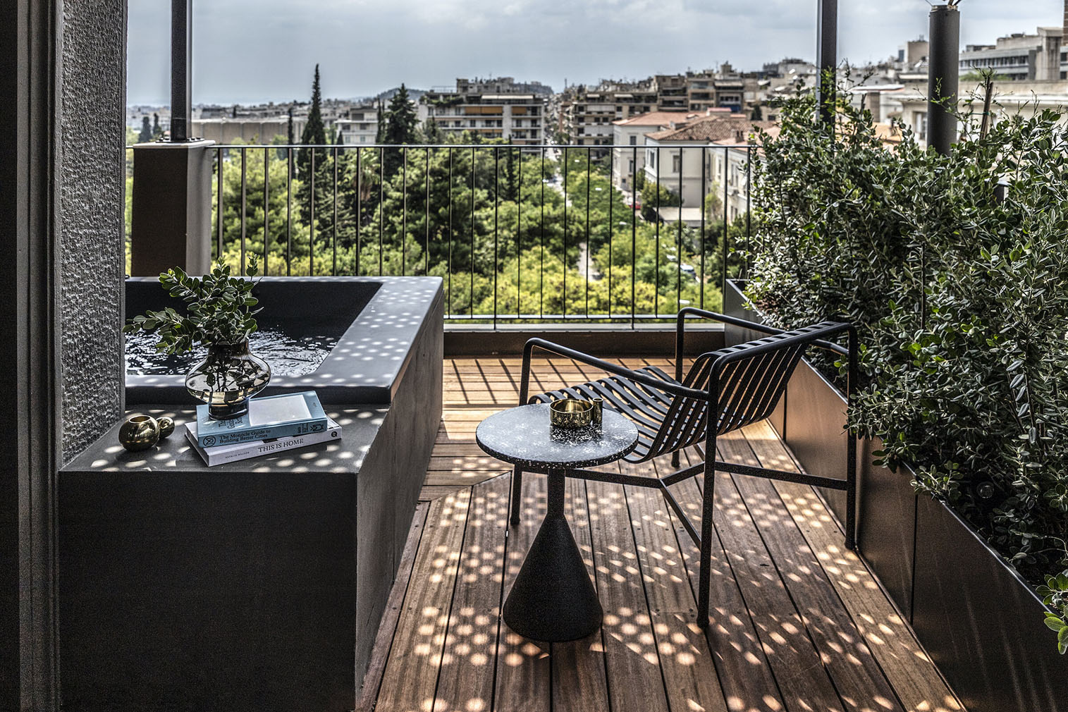 Private deck at The Modernist hotel, Athens