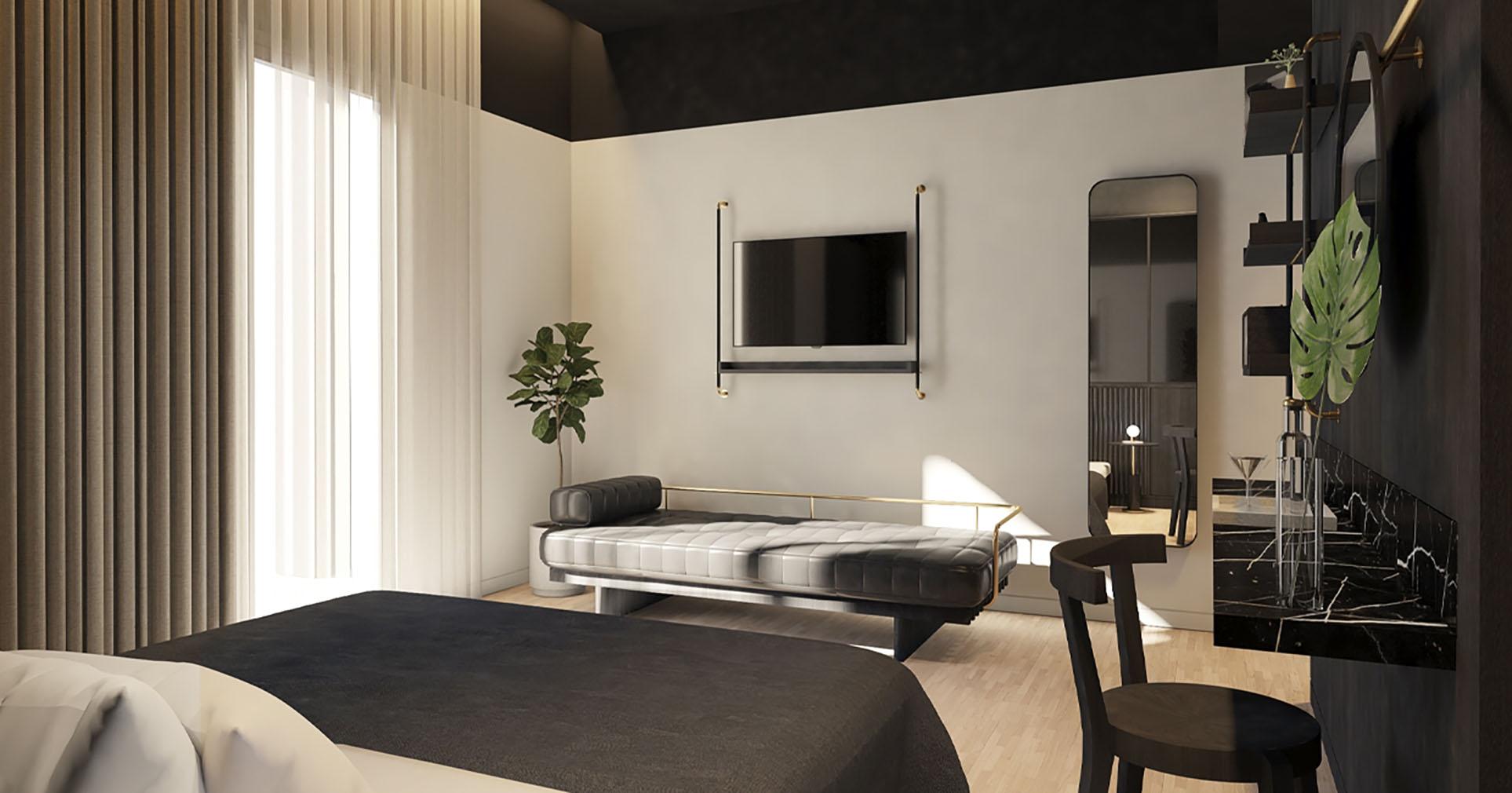 A bedroom suite inside The Modernist, Athens