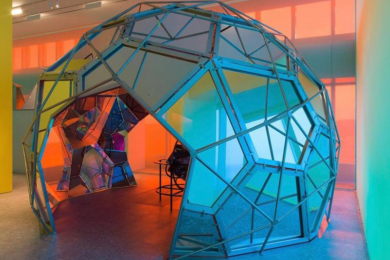Olafur Eliasson's Living Observatory includes a rainbow tinted geodesic dome