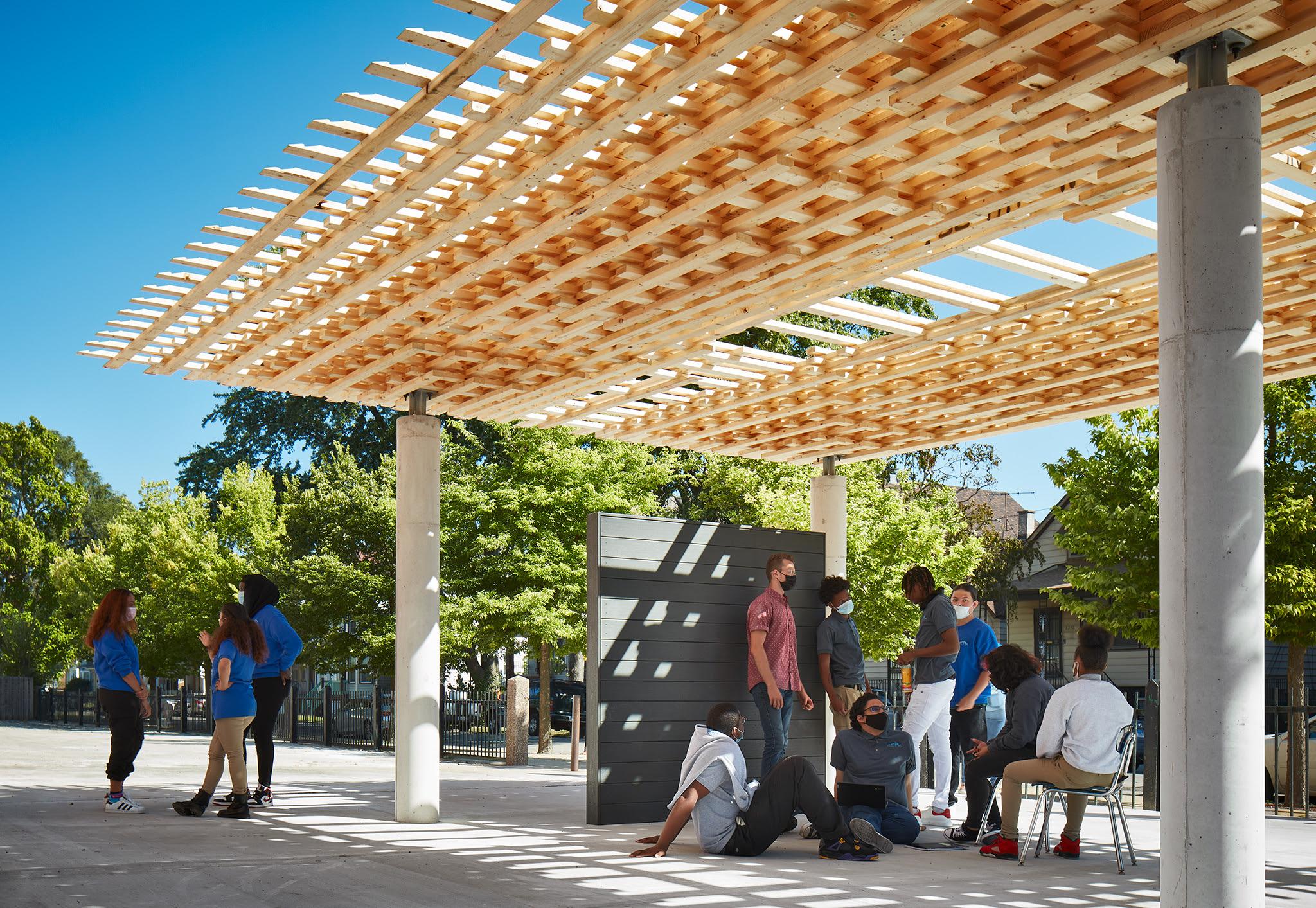 SPLAM Pavilion was built robotically using timber
