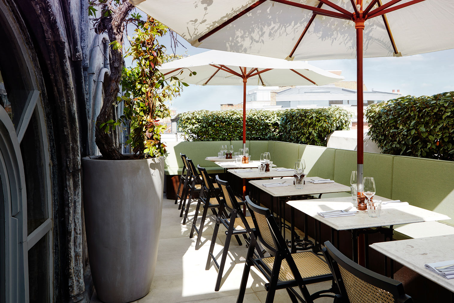The rooftop dining terrace overlooking Clerkenwell Green