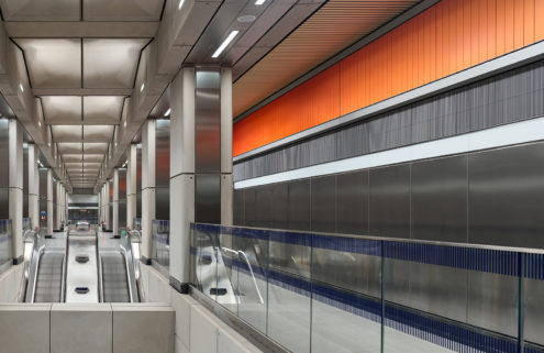 Battersea Power Station's Underground opens to reveal the colours of a London sunrise