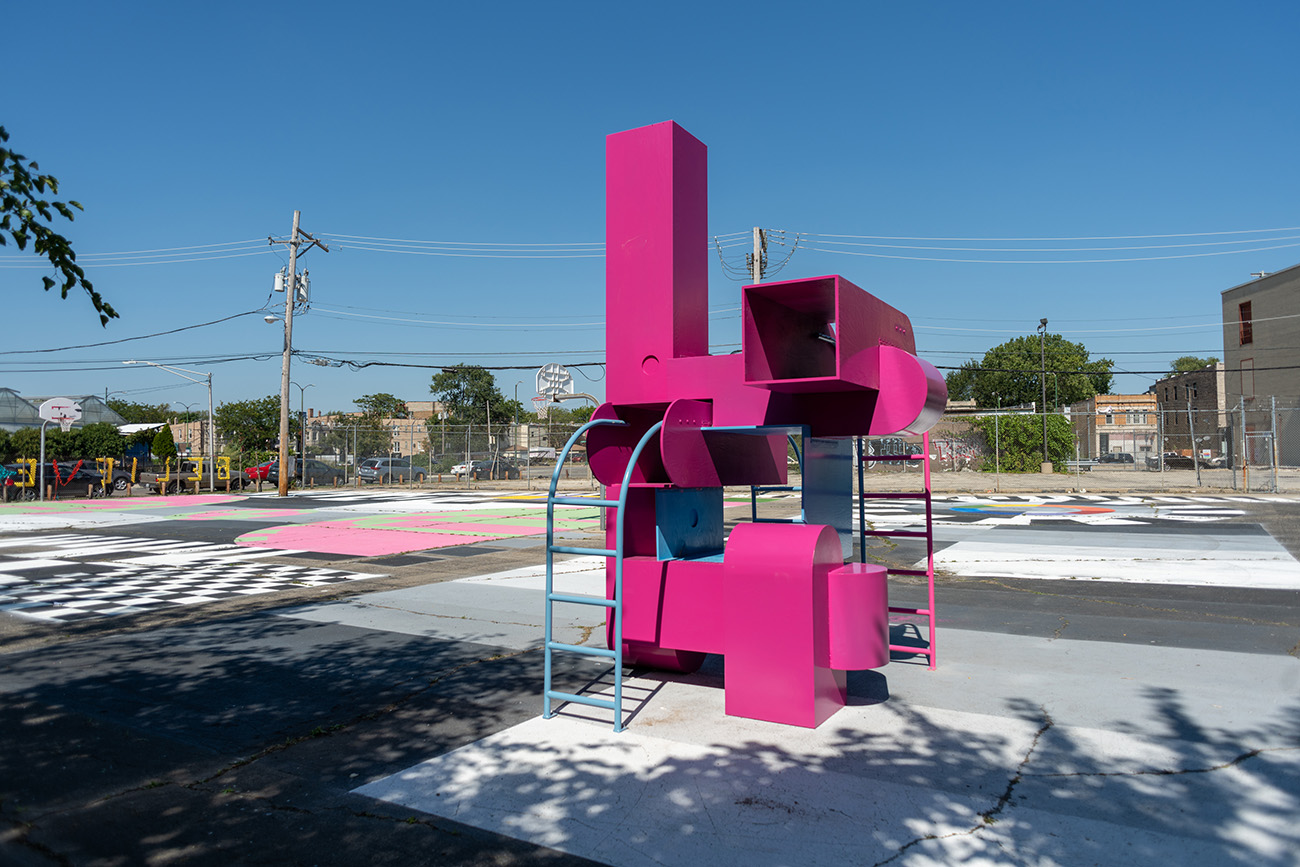 Block Party - a colourful take on playground architecture combines mail box shaped structures, rectangular volumes and ladders