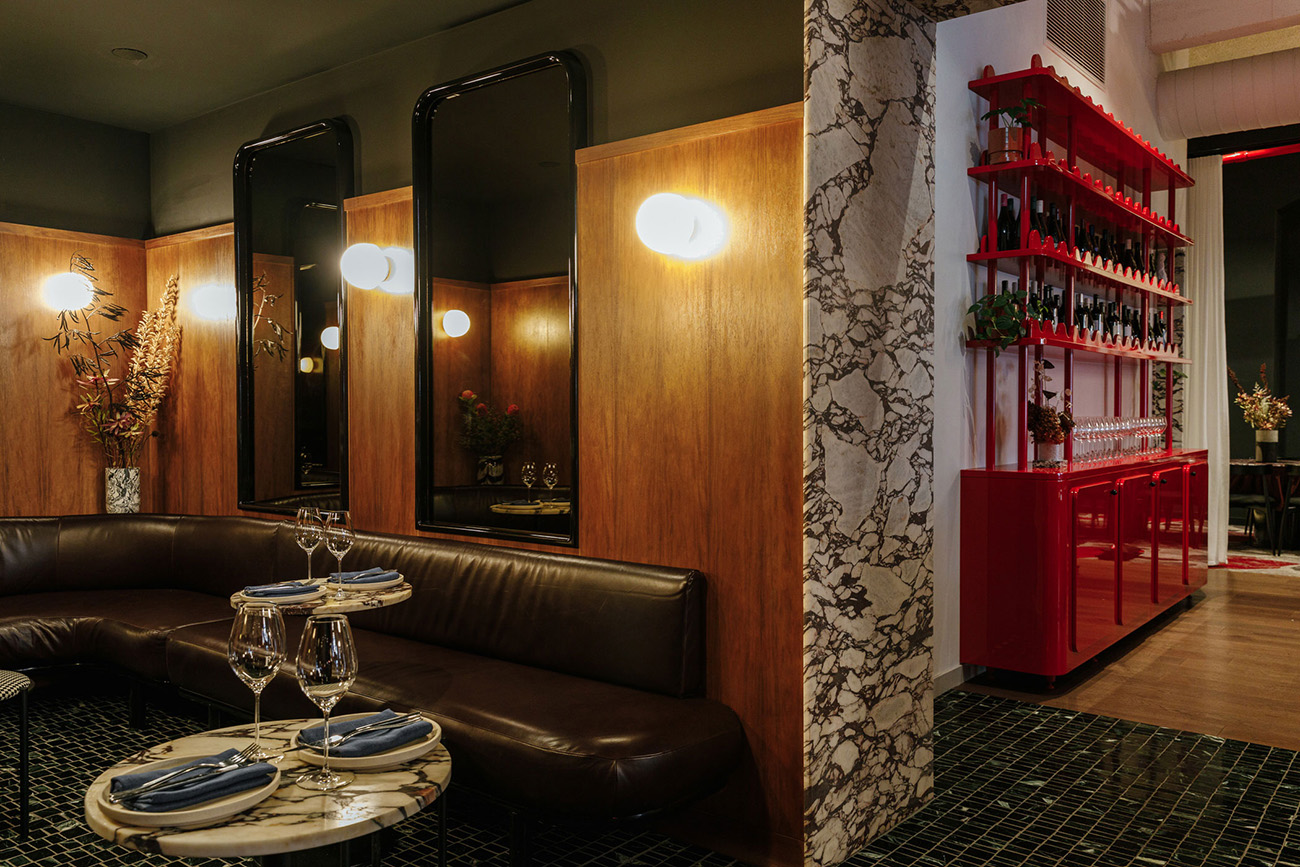 Leather, wood, marble and wool are just some of the textures used inside the Adelaide restaurant