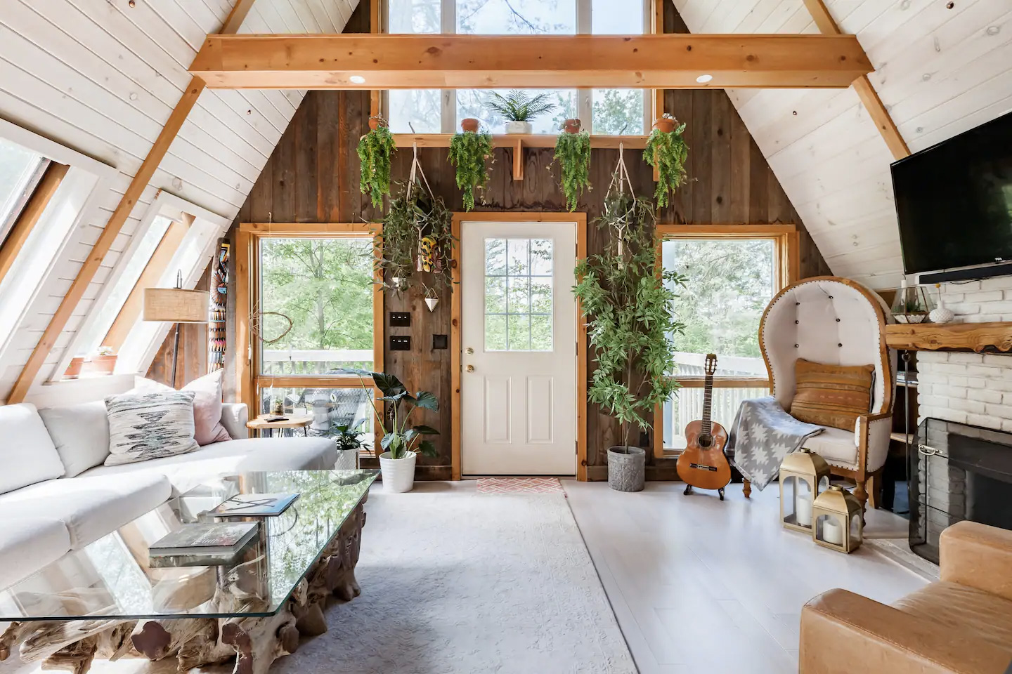 A frame cabin for rent with vintage 1970s vibes