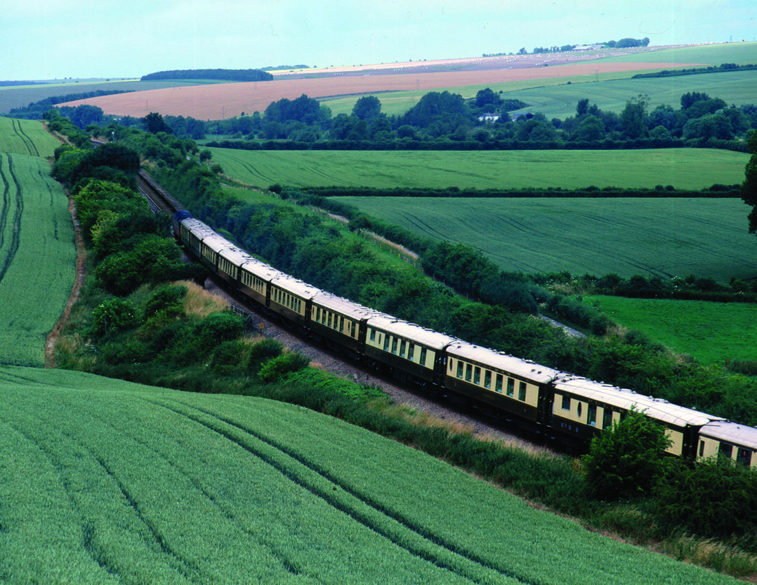 The British Pullman train is operated by Belmond and features nine carriages. The Wes Anderson carriage is the latest addition to the vehicle and features his signature design touches including rectilinear shapes, art deco flourishes and vivid colours